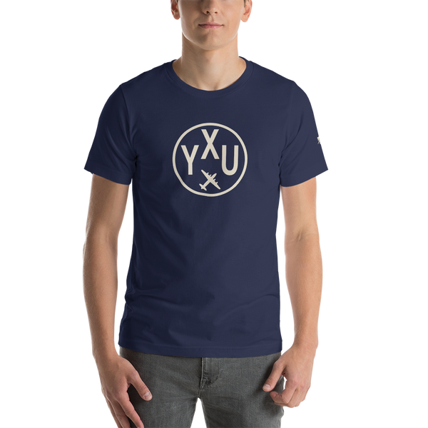 YHM Designs - YXU London Airport Code T-Shirt - Adult - Navy Blue - Birthday Gift