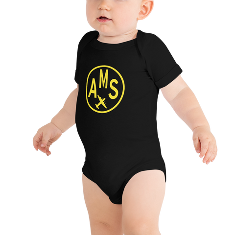 YHM Designs - AMS Amsterdam Airport Code Onesie Bodysuit - Baby Infant - Boy's or Girl's Gift