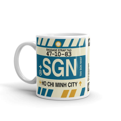 YHM Designs - SGN Ho Chi Minh City, Vietnam Airport Code Coffee Mug - Birthday Gift, Christmas Gift - Left