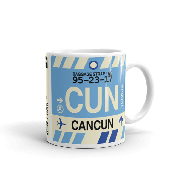 YHM Designs - CUN Cancun, Mexico Airport Code Coffee Mug - Graduation Gift, Housewarming Gift - Right