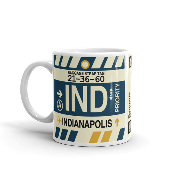 YHM Designs - IND Indianapolis Airport Code Coffee Mug - Birthday Gift, Christmas Gift - Left