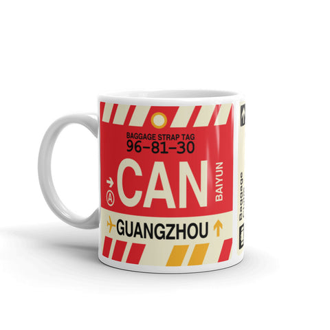 YHM Designs - CAN Guangzhou Airport Code Coffee Mug - Birthday Gift, Christmas Gift - Left