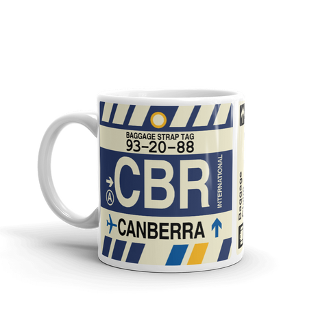 YHM Designs - CBR Canberra Airport Code Coffee Mug - Graduation Gift, Housewarming Gift - Right