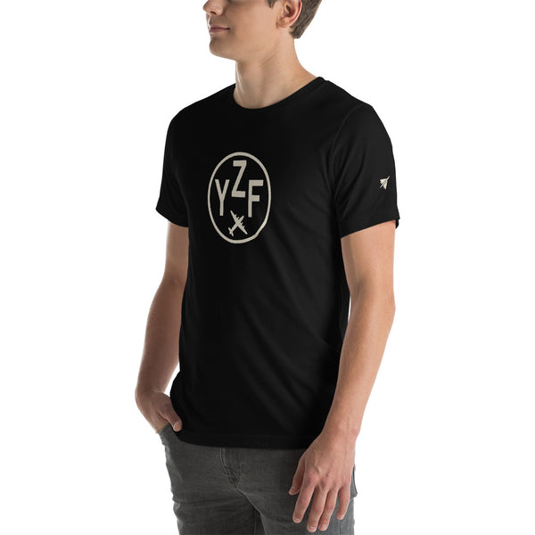 YHM Designs - YZF Yellowknife T-Shirt - Airport Code and Vintage Roundel Design - Adult - Black - Gift for Dad or Husband