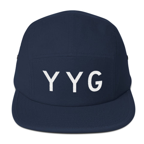 YHM Designs - YYG Charlottetown Airport Code Camper Hat - Navy Blue - Front - Christmas Gift