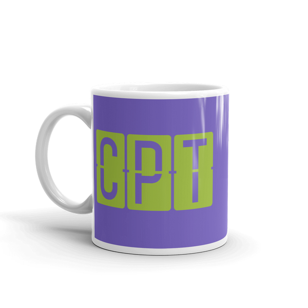 YHM Designs - CPT Cape Town Airport Code Split-Flap Display Coffee Mug - Birthday Gift, Christmas Gift - Green and Purple - Left