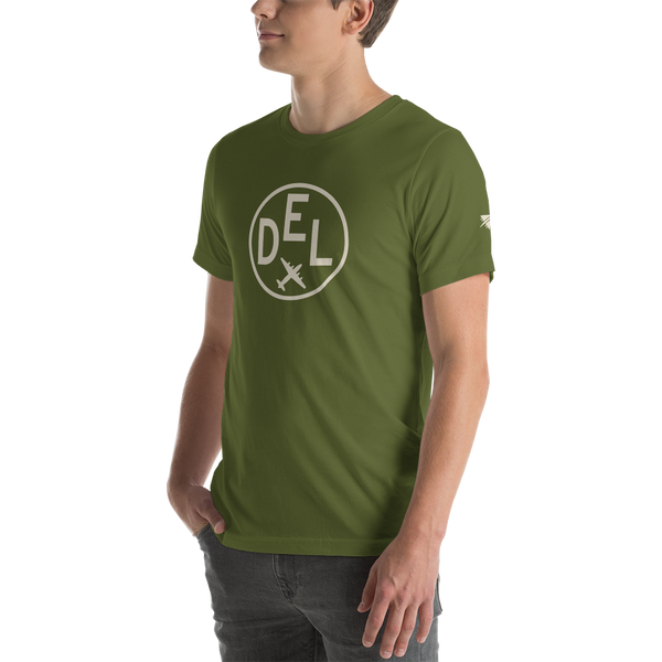 YHM Designs - DEL Delhi Airport Code T-Shirt - Adult - Olive Green - Gift for Dad or Husband