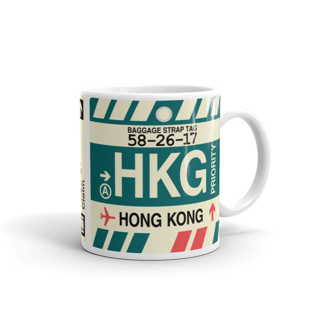 YHM Designs - HKG Hong Kong Airport Code Coffee Mug - Graduation Gift, Housewarming Gift - Right