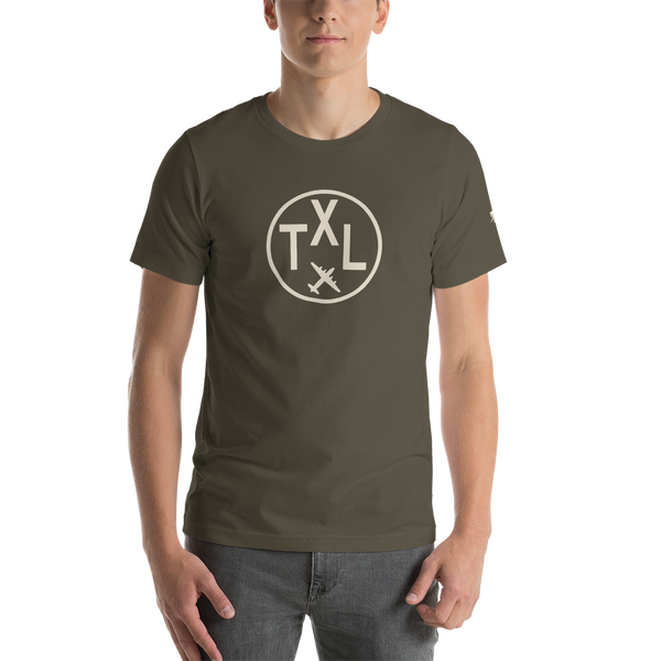 YHM Designs - TXL Berlin Airport Code T-Shirt - Adult - Army Brown - Birthday Gift