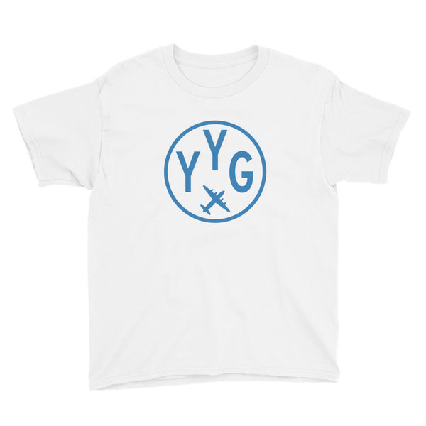 YHM Designs - YYG Charlottetown T-Shirt - Airport Code and Vintage Roundel Design - Child Youth - Navy Blue - Gift for Child or Children