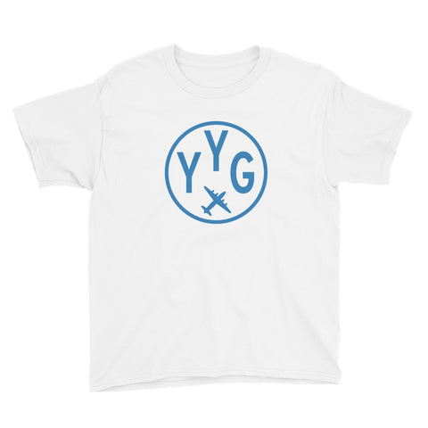 YYG Charlottetown T-Shirt • Youth • Airport Code & Vintage Roundel Design • Light Blue Graphic