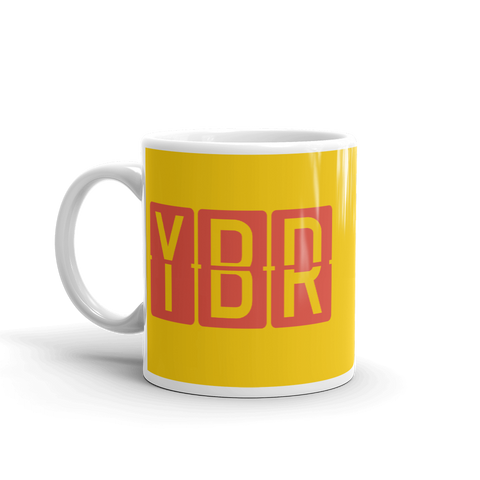 YHM Designs - YBR Brandon, Manitoba Airport Code Coffee Mug - Birthday Gift, Christmas Gift - Red and Yellow - Left