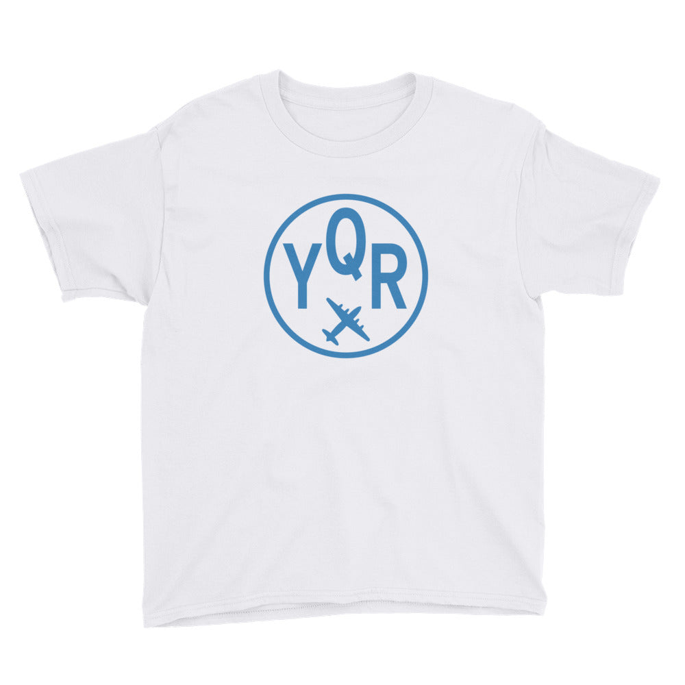 YHM Designs - YQR Regina T-Shirt - Airport Code and Vintage Roundel Design - Child Youth - White - Gift for Grandchild
