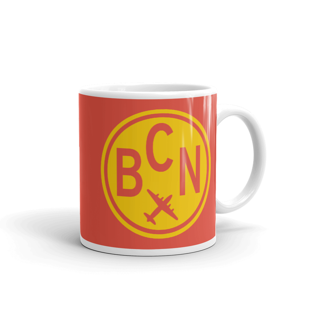 YHM Designs - BCN Barcelona Airport Code Vintage Roundel Coffee Mug - Graduation Gift, Housewarming Gift - Yellow and Red - Right
