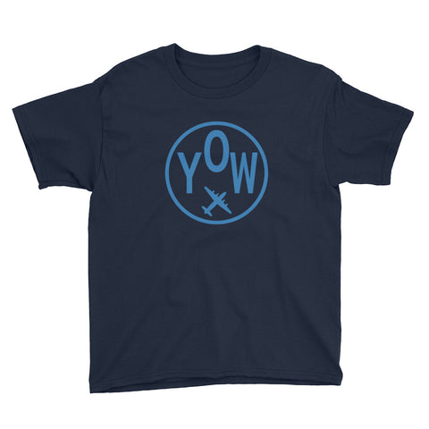 YHM Designs - YOW Ottawa T-Shirt - Airport Code and Vintage Roundel Design - Youth - Navy Blue - Gift for Child or Children