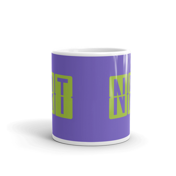 YHM Designs - NRT Tokyo Airport Code Split-Flap Display Coffee Mug - Teacher Gift, Airbnb Decor - Green and Purple - Side