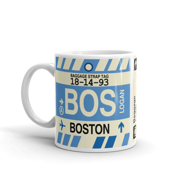 YHM Designs - BOS Boston, Massachusetts Airport Code Coffee Mug - Birthday Gift, Christmas Gift - Left