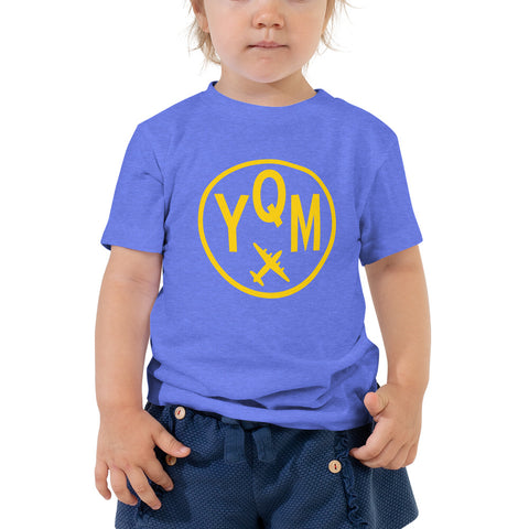 YHM Designs - YQM Moncton T-Shirt - Airport Code and Vintage Roundel Design - Toddler - Blue - Gift for Child or Children
