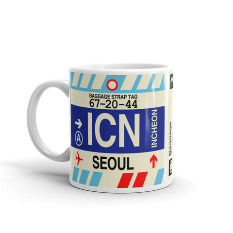 YHM Designs - ICN Seoul, South Korea Airport Code Coffee Mug - Birthday Gift, Christmas Gift - Left