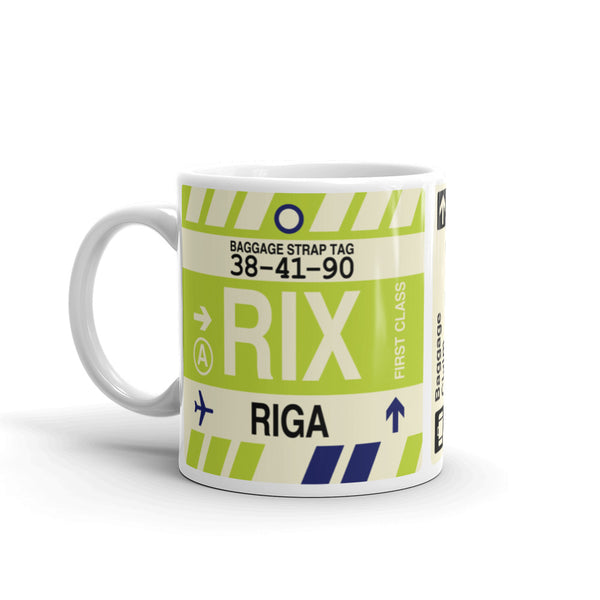 YHM Designs - RIX Riga, Latvia Airport Code Coffee Mug - Birthday Gift, Christmas Gift - Left
