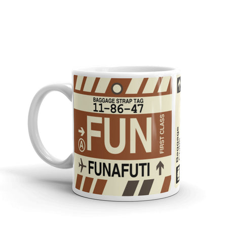 YHM Designs - FUN Funafuti, Tuvalu Airport Code Coffee Mug - Birthday Gift, Christmas Gift - Left