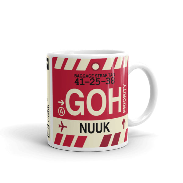 YHM Designs - GOH Nuuk Airport Code Coffee Mug - Graduation Gift, Housewarming Gift - Right