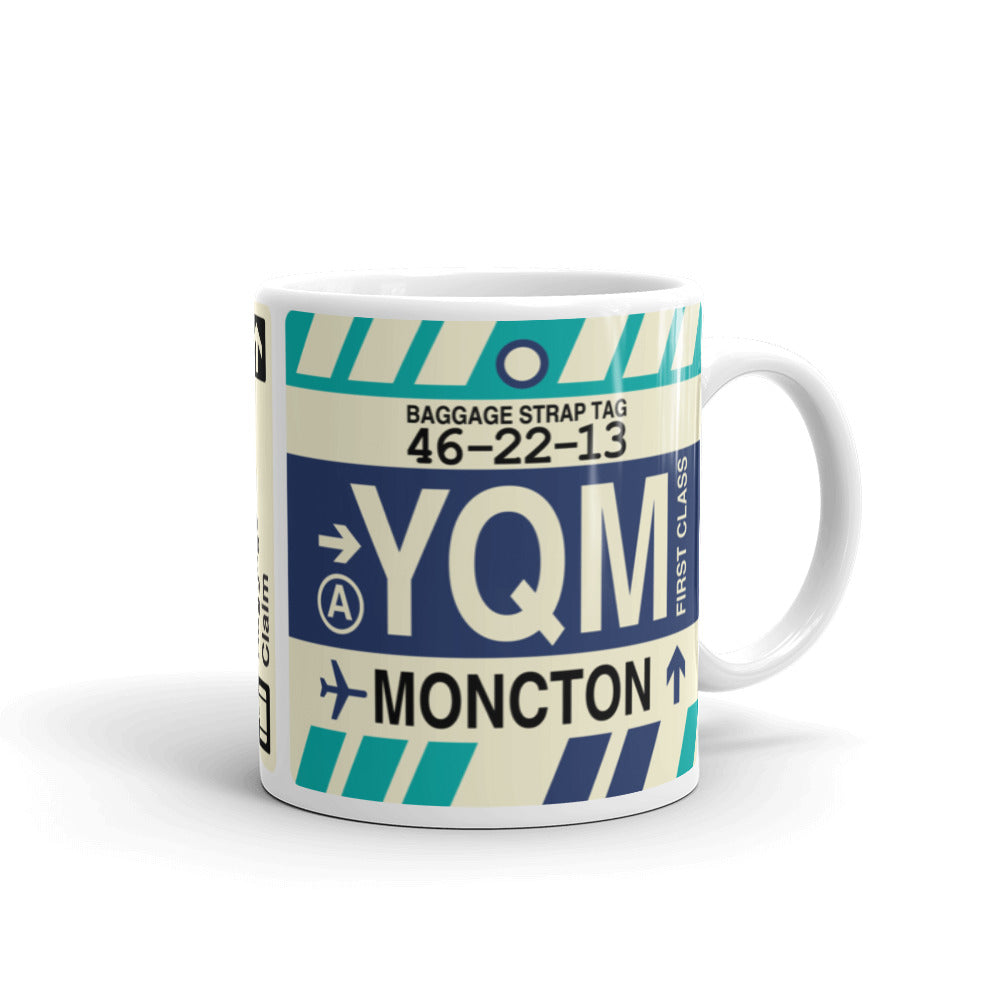 YHM Designs - YQM Moncton, New Brunswick Airport Code Coffee Mug - Graduation Gift, Housewarming Gift - Right