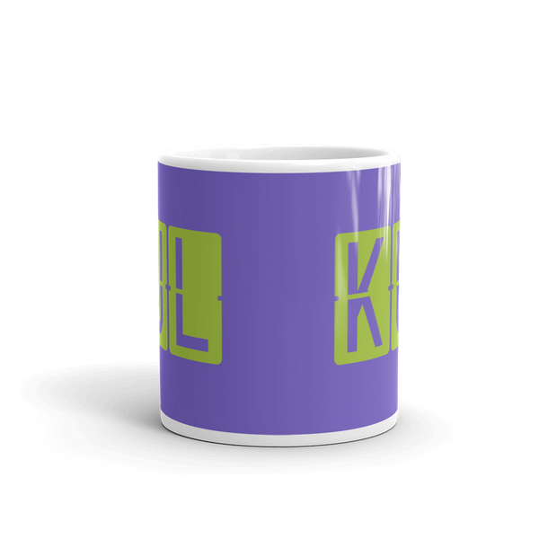 YHM Designs - KUL Kuala Lumpur Airport Code Split-Flap Display Coffee Mug - Teacher Gift, Airbnb Decor - Green and Purple - Side