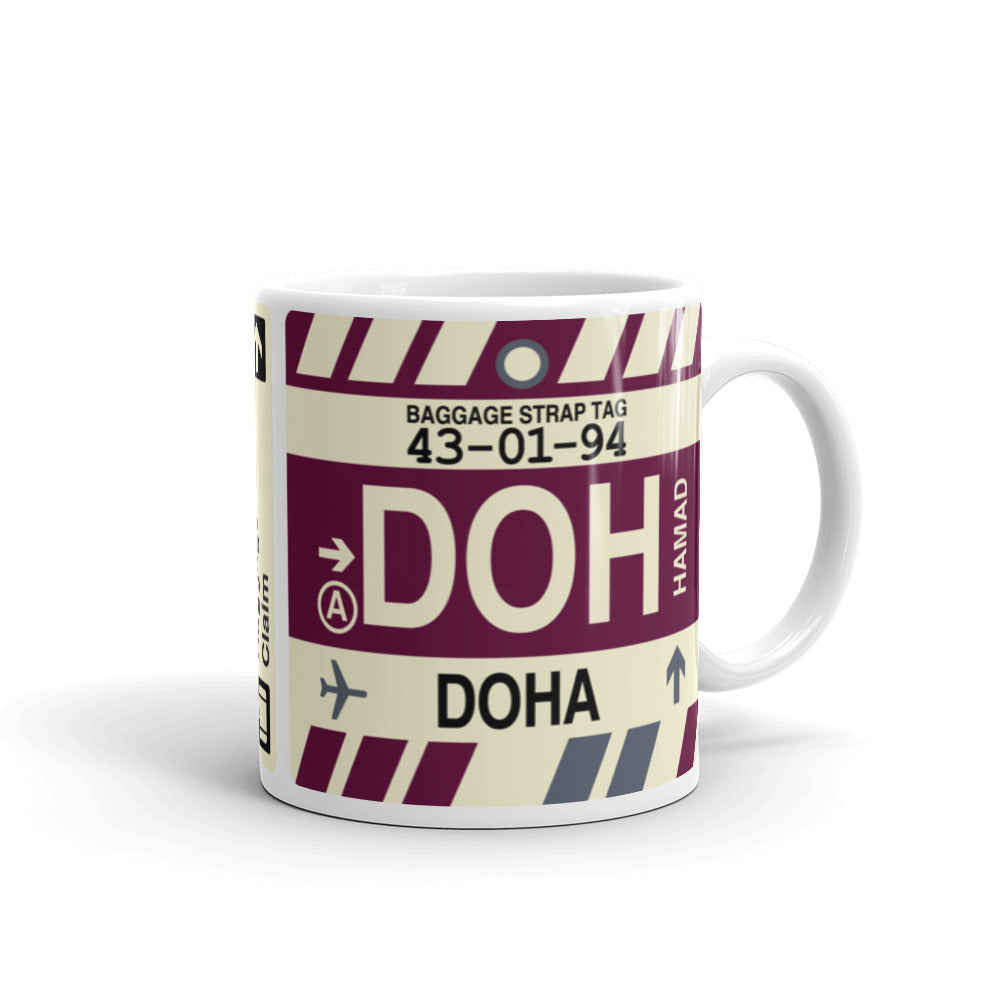 YHM Designs - DOH Doha, Qatar Airport Code Coffee Mug - Graduation Gift, Housewarming Gift - Right