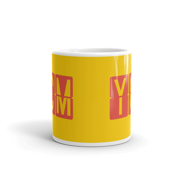 YHM Designs - YCM St. Catharines, Ontario Airport Code Coffee Mug - Teacher Gift, Airbnb Decor - Red and Yellow - Side