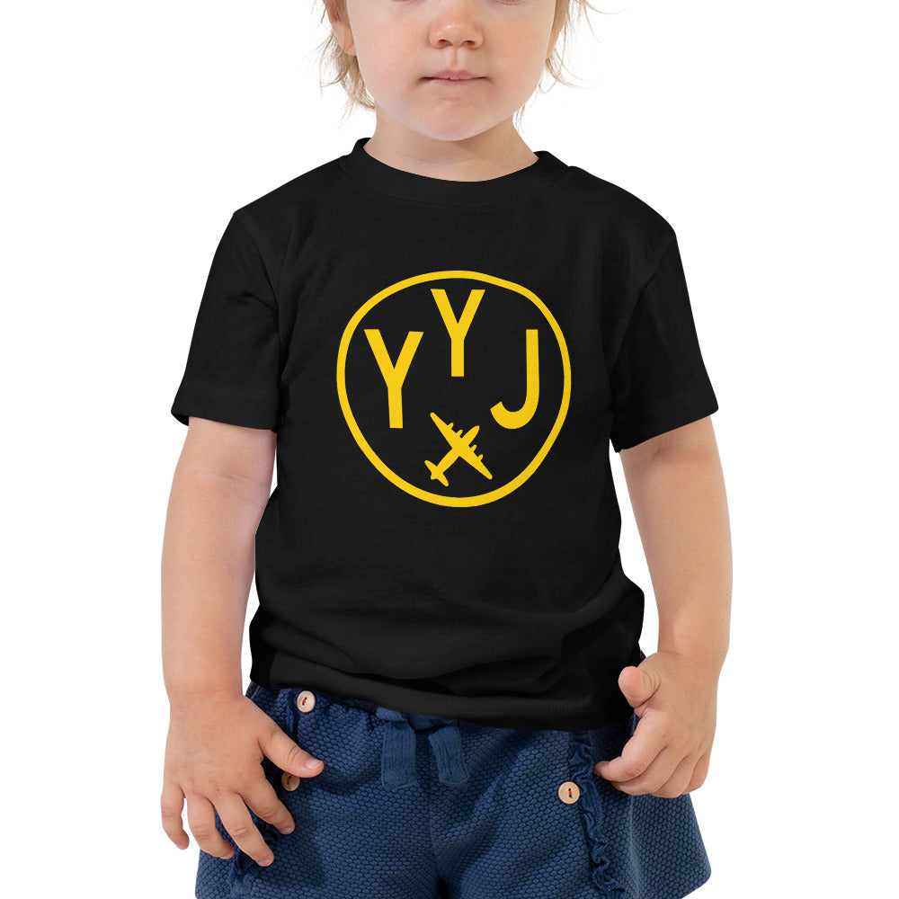 YHM Designs - YYJ Victoria T-Shirt - Airport Code and Vintage Roundel Design - Toddler - Black - Gift for Grandchild or Grandchildren