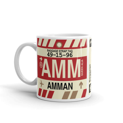 YHM Designs - AMM Amman, Jordan Airport Code Coffee Mug - Birthday Gift, Christmas Gift - Left