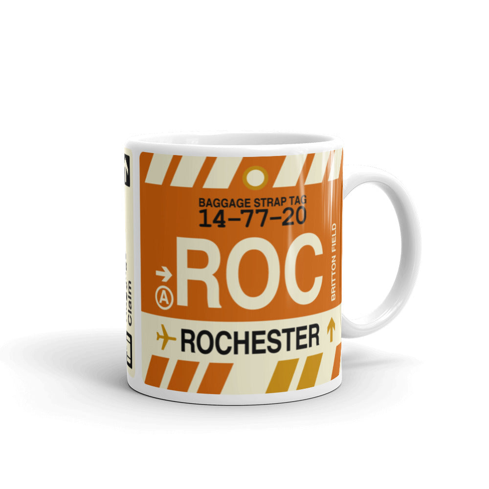 YHM Designs - ROC Rochester, New York Airport Code Coffee Mug - Graduation Gift, Housewarming Gift - Right