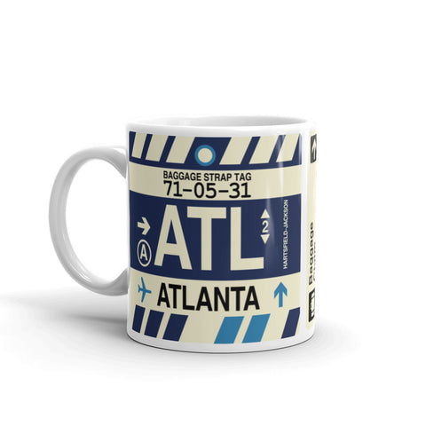 YHM Designs - ATL Atlanta Airport Code Coffee Mug - Birthday Gift, Christmas Gift - Left