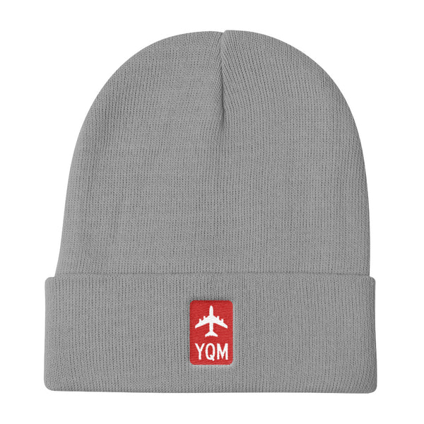 YHM Designs - YQM Moncton Retro Jetliner Airport Code Winter Hat - Grey - Student Gift