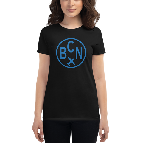YHM Designs - BCN Barcelona Airport Code T-Shirt - Women's - Birthday Gift