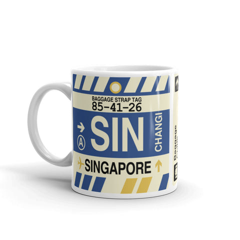 YHM Designs - SIN Singapore,  Airport Code Coffee Mug - Birthday Gift, Christmas Gift - Left