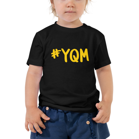 YHM Designs - YQM Moncton Airport Code Hashtag Design T-Shirt - Toddler Child - Boy's or Girl's Gift