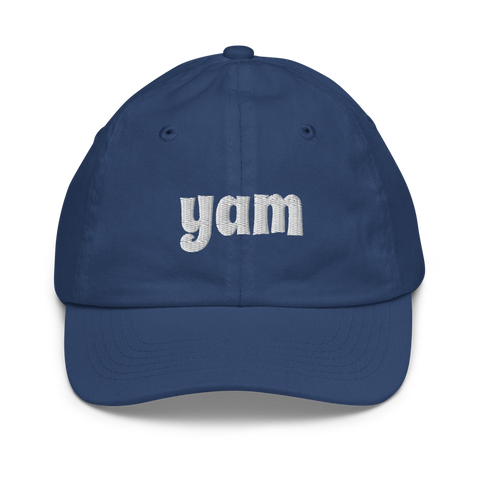 YHM Designs - YAM Sault-Ste-Marie Airport Code Baseball Cap - Youth/Kids - Blue