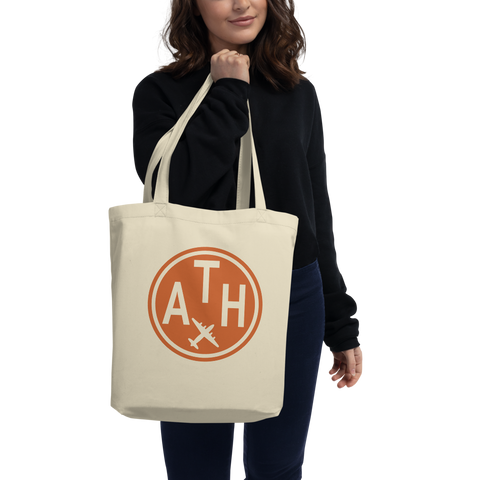 YHM Designs - ATH Athens Airport Code Organic Cotton Tote Bag - Lady