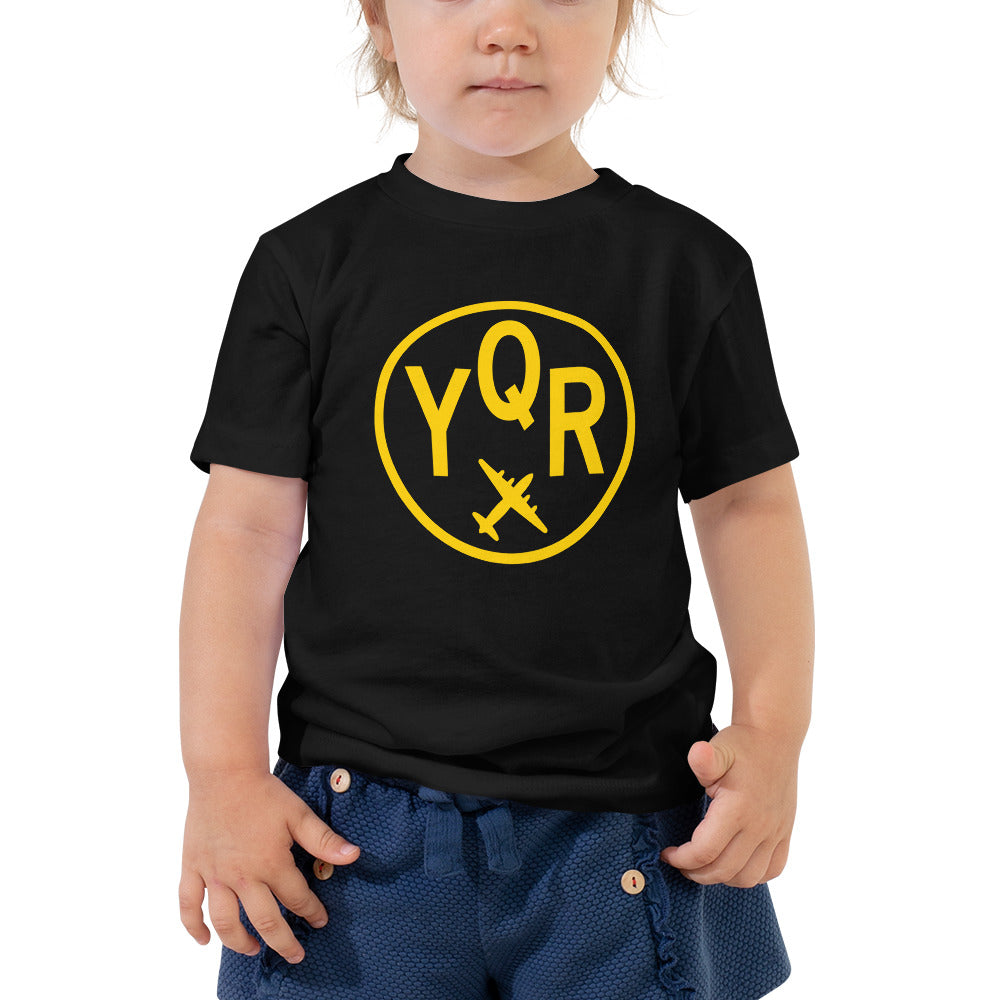 YHM Designs - YQR Regina T-Shirt - Airport Code and Vintage Roundel Design - Toddler - Black - Gift for Grandchild or Grandchildren
