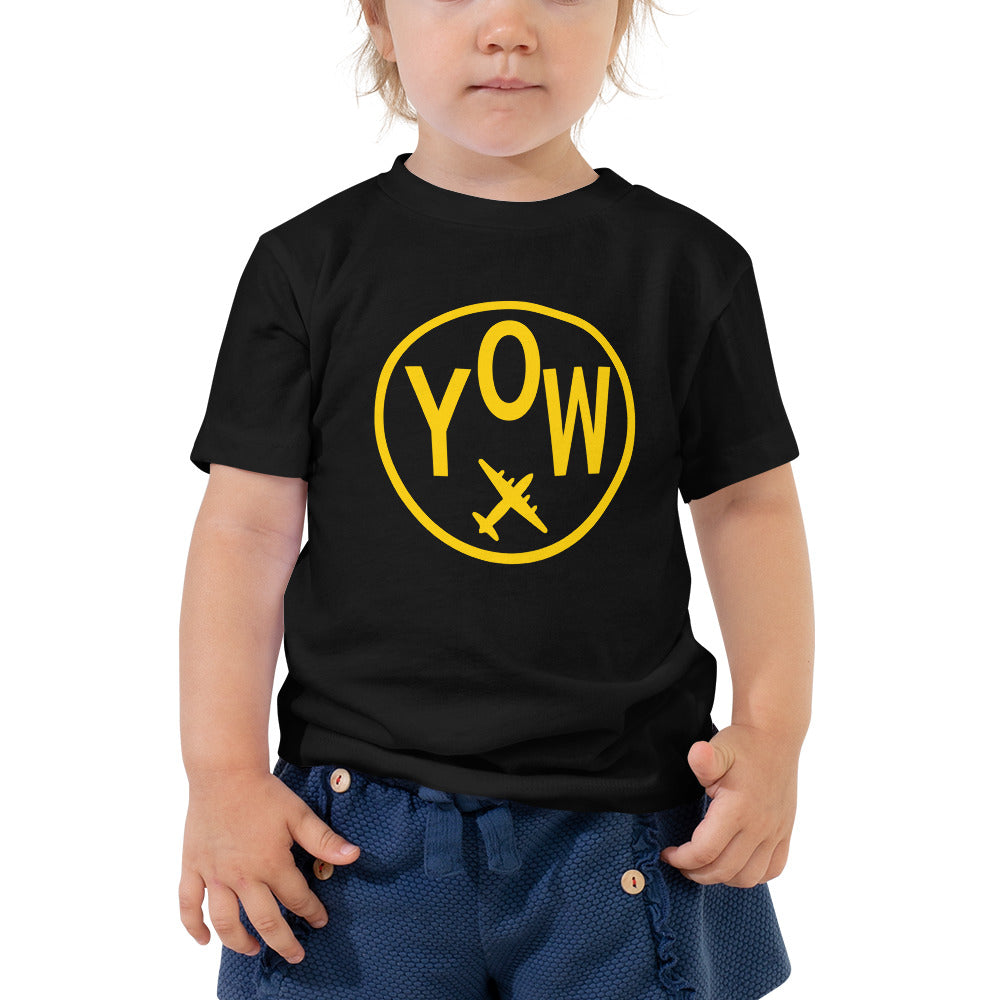 YHM Designs - YOW Ottawa T-Shirt - Airport Code and Vintage Roundel Design - Toddler - Black - Gift for Grandchild or Grandchildren