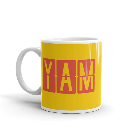 YHM Designs - YAM Sault-Ste-Marie, Ontario Airport Code Coffee Mug - Birthday Gift, Christmas Gift - Red and Yellow - Left