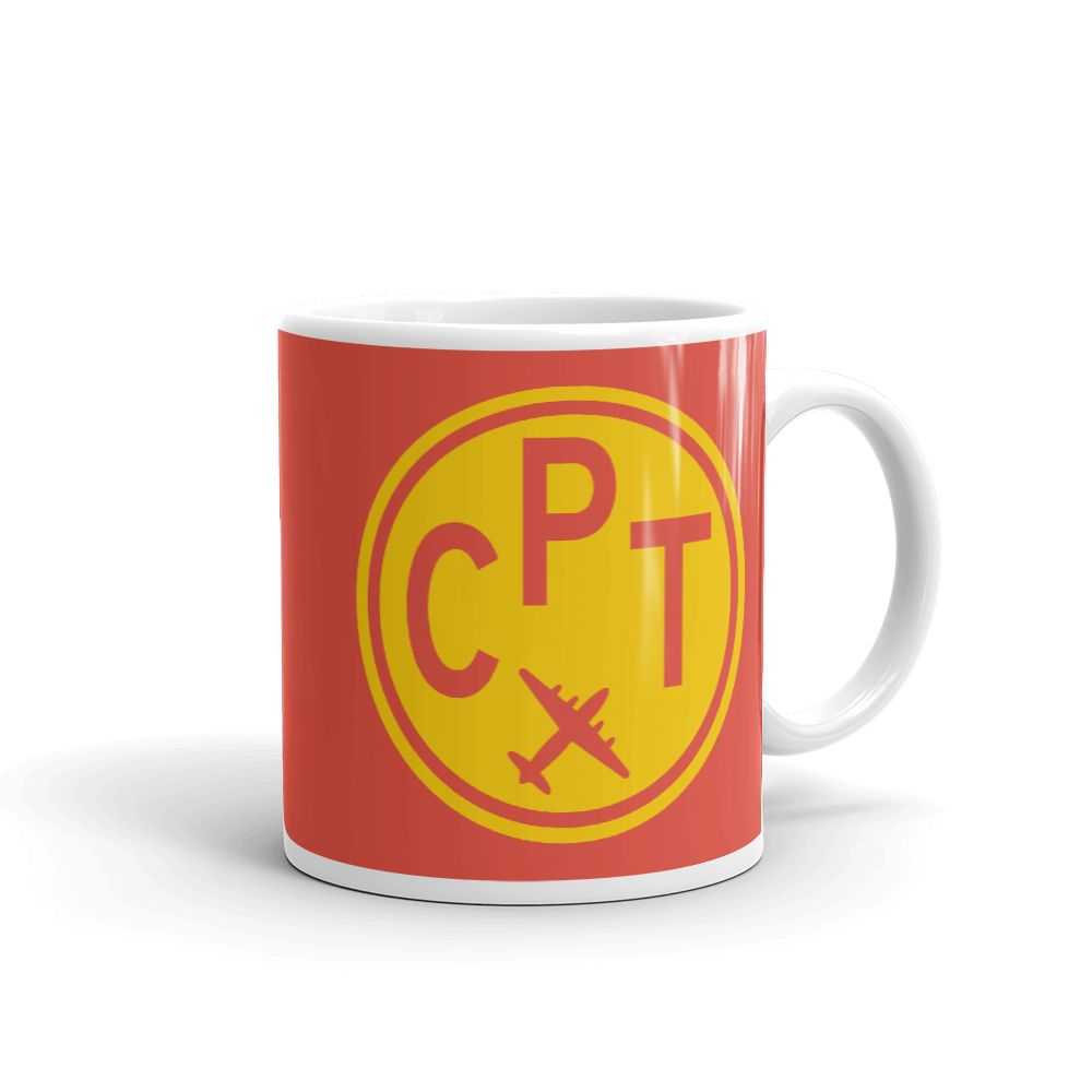 YHM Designs - CPT Cape Town Airport Code Vintage Roundel Coffee Mug - Graduation Gift, Housewarming Gift - Yellow and Red - Right