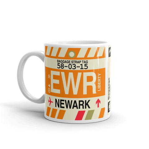 YHM Designs - EWR Newark Airport Code Coffee Mug - Birthday Gift, Christmas Gift - Left