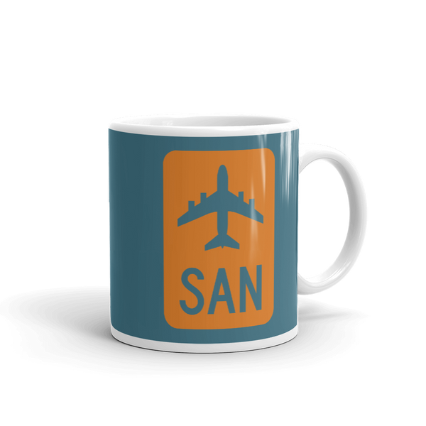 YHM Designs - SAN San Diego Airport Code Jetliner Coffee Mug - Graduation Gift, Housewarming Gift - Orange and Teal - Right