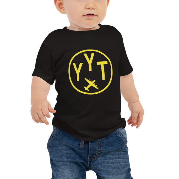 YHM Designs - YYT St. John's T-Shirt - Airport Code and Vintage Roundel Design - Baby - Black - Gift for Child or Children