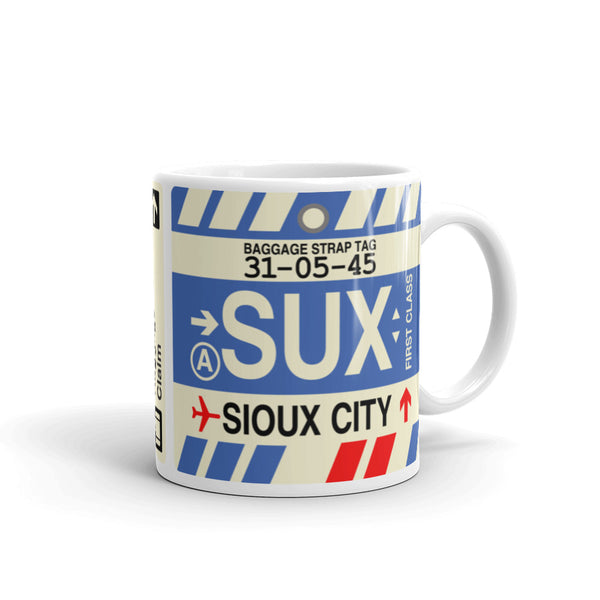YHM Designs - SUX Sioux City, Iowa Airport Code Coffee Mug - Graduation Gift, Housewarming Gift - Right