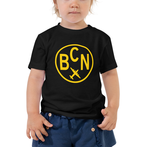 YHM Designs - BCN Barcelona Airport Code T-Shirt - Toddler Child - Boy's or Girl's Gift