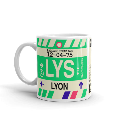 YHM Designs - LYS Lyon, France Airport Code Coffee Mug - Birthday Gift, Christmas Gift - Left